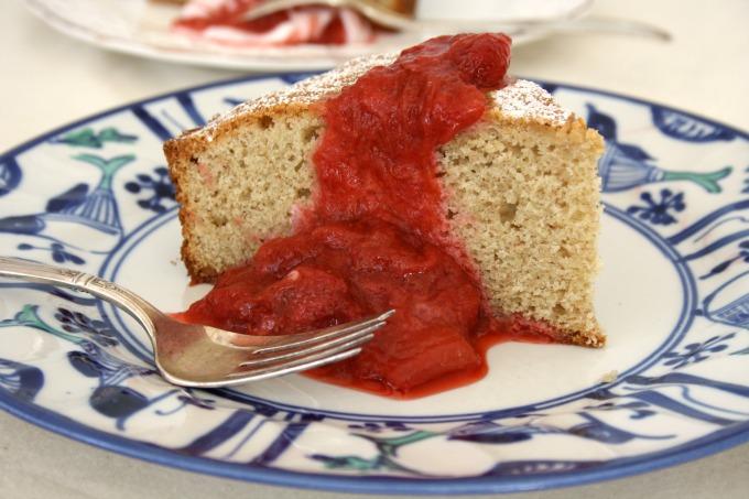 Paula's Buckwheat Sponge Cake with Rhubarb Compote