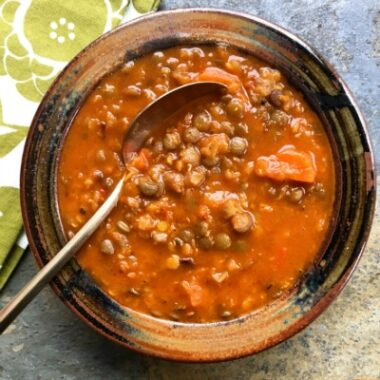 Two Lentil Soup with Marjoram uses red lentils for thickening and green lentils for texture.