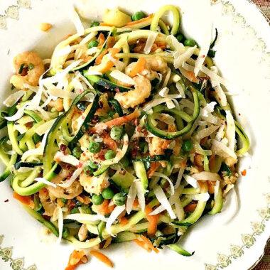 Shrimp Spaghetti with Zucchini Noodles and Whole Wheat Pasta