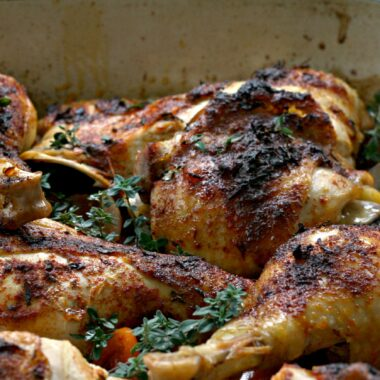 Basque chicken, cooked with paprika and peppers