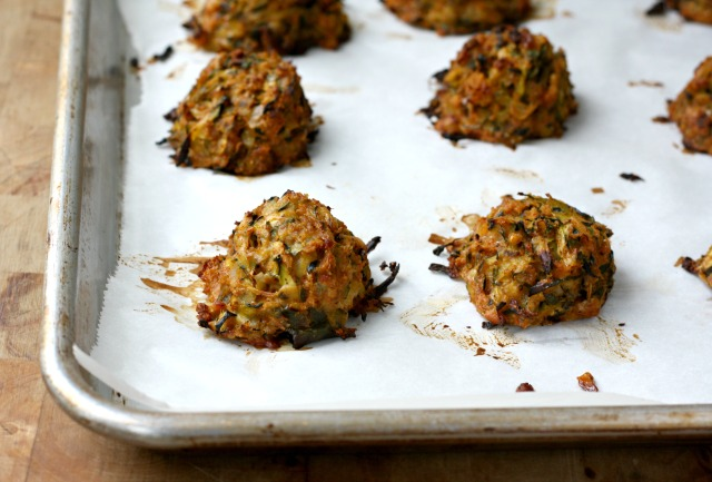 """Zucchini """"meat"""" balls have a great texture and get loads of flavour from Parmesan and fresh herbs."""