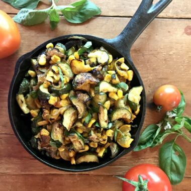 Roasted zucchini and corn with herbs an easy vegetable side dish.