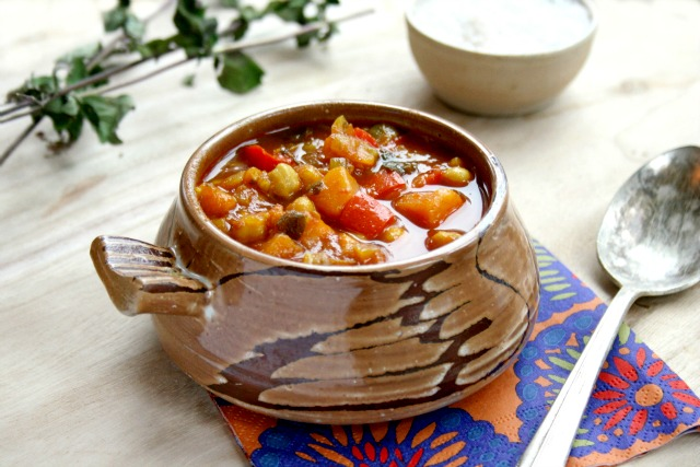 Gypsy Soup is full of chick peas, sweet potatoes, red pepper and a little turmeric for colour.