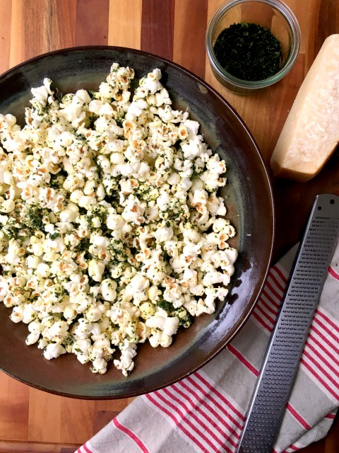 Kale Dusted Parmesan Popcorn. The kale dust is also good sprinkled over salad, on eggs, mac and cheese and just about anything else you might be serving for supper.