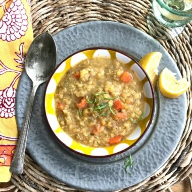 Sunshine lentil soup is easy, warming & brightly flavoured with lemon.