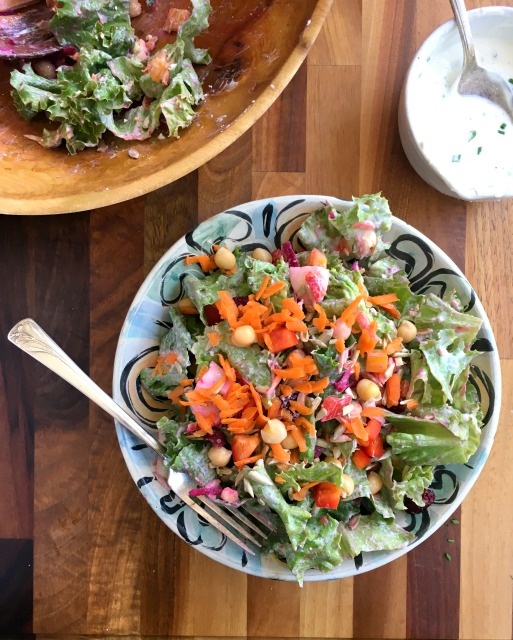 Main dish rainbow Salad with creamy feta dressing is substantial and filling