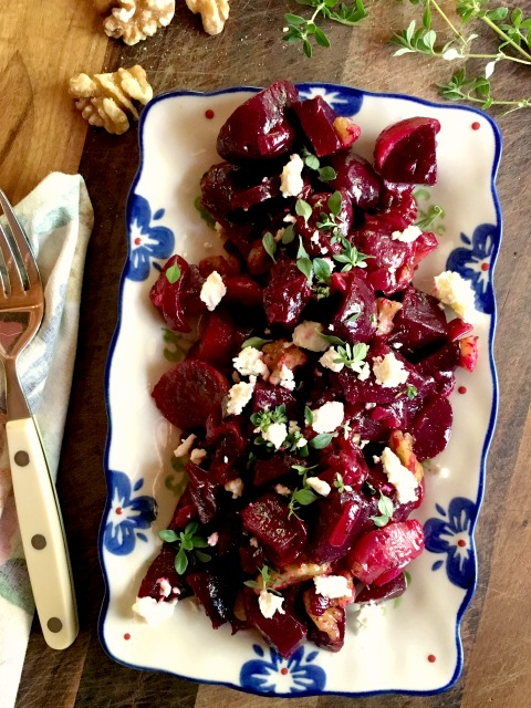 Roasted Beet Salad Recipe with Caramelized Onions and Feta