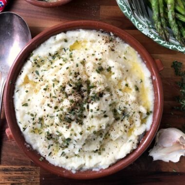 easy cauliflower mash is a low carb alternative to potatoes.
