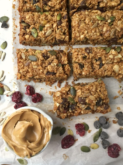 Kitchen sink granola bars: one of the simplest recipes ever. You can add nuts and/or seeds (handy if you're making them for school lunches) and you can include whatever dried fruit you have in the house.