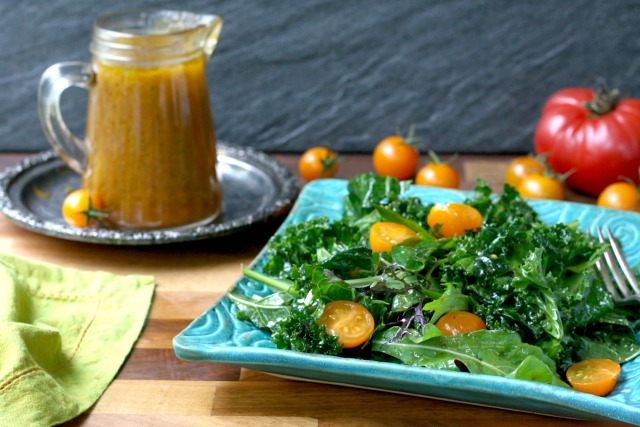 Easy Pumpkin Vinaigrette is a tangy dressing that is thicker than regular vinaigrette. It's great on a green salad but is also delicious tossed with green beans or roasted beets. A batch will last a week in the fridge.